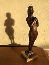 Fantastic Deco Antique Arts & Crafts Vintage Wood Woman Nude Sculpture Folk Art