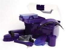 Grooming Set Kit Horse Brush Comb Sweat Scraper Hoof Pick Sponge Purple Gift New