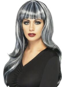Sinister Siren Wig Black and Grey Streaks Long Wavy Ladies Halloween Fancy Dress