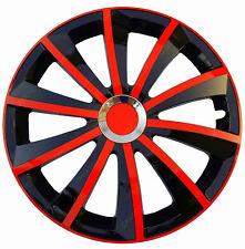 """4x15"""" rueda Adornos Fit Volkswagen Golf Touran Polo Plus conjunto completo de -15"""" Negro/Rojo"""