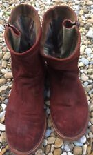 Maroon Suede Ankle Boots Western Cowboy Size 6 Newly Re Healed And Soled