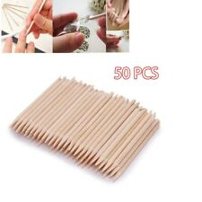 50 PCS Nail Art Cuticle Pusher Remover Pedicure Manicure Orange Wood Sticks Tool