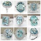 Large Women Jewelry 925 Silver Aquamarine Gemstone Wedding Bridal Ring Size 6-10