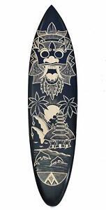 Deko Surfboard 100cm mit Bali Landschaft Palmen Surfer Motiv Hartholz Südsee