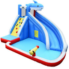 Inflatable Water Slide shark Bounce House Castle Splash Water Pool Without