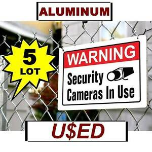 5 USED Warning Security Camera In Use 10x14 Aluminum METAL Yard Sign Video Spy