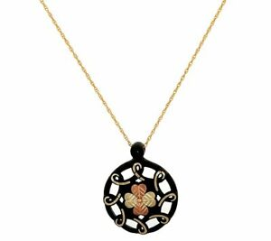 12K Solid Gold Black Hills Midnight Eclipse Pendant 14K Chain QVC $599 US MADE