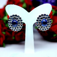 NATURAL 6 X 8 mm. CABOCHON WITH ROUND BLUE SAPPHIRE EARRINGS 925 STERLING SILVER