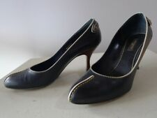 Louis Vuitton 38 black leather pumps shoes heels MA0055 Box bag Very good