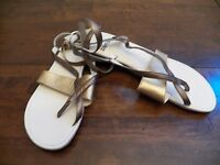 New Womens TSUBO Brenleigh Bronze Buckle Leather Strappy Flat Fashion Sandals