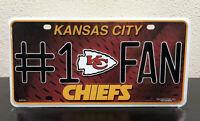 Kansas City Chiefs Metal License Plate NFL Auto Tag Football Vanity Team Sign