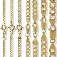 9CT GOLD CURB CHAIN DIAMOND CUT FLAT TRACE ROPE FIGARO D/C NECKLACE BRACELET BOX