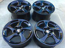 "18"" NEW SUPER LIGHT OEM PORSCHE 911 993 996 997 TURBO TWIST HOLLOW BLACK WHEELS."