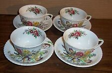 4 SETS  JOHNSON BROS WINDSOR WARE GARDEN BOUQUET CUPS AND SAUCERS