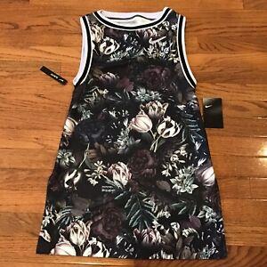 NWT Women's Nike Tennis Court Floral Tennis Dress Black White XS AO0366-010