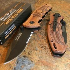 TAC-FOCE Spring Assisted Open PAKKAWOOD Folding Hunting Blade Pocket Knife