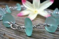 AQUA BLUE SEA GLASS Silver Chain Link Bracelet BEACH GLASS Tumbled