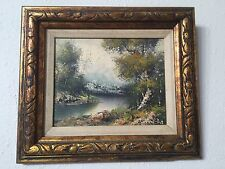 Artist Painted Oil On Canvas River Scenery Original Gold Frame Glendale NY