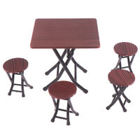 1:12 Dollhouse mini furniture folding table and chair set with 4 stool mod SE