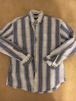 Nautica Mens Long Sleeve Button Front Blue Plaid Shirt Size Large Classic Fit