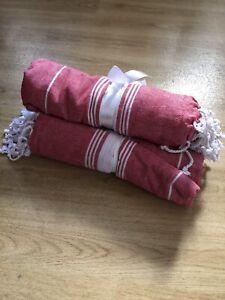Yoga Gym 100% Cotton Towel Travel Beach Holiday Turkish Hammam Throw  Red White