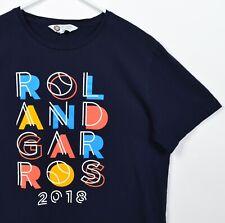 Roland Garros Men's Medium French Open 2018 Tennis Navy Blue Graphic T-Shirt