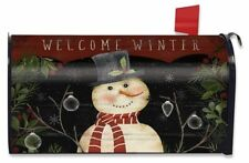 Welcome Winter Snowman Magnetic Mailbox Cover Primitive Standard Briarwood Lane