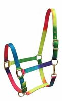 Showman Horse Size NEON RAINBOW Nylon Halter With Adjustable Nose! HORSE TACK!