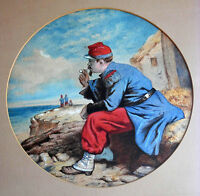 Antique European Watercolor Painting Portrait WWl French Soldier Signed Framed