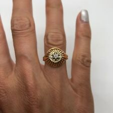 Antique French 18k Yellow Gold Platinum Diamond Mid Century Ring Vintage Flower