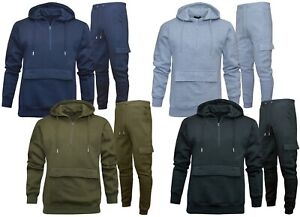 Mens Slim Fit Tracksuit Set 1/4 Quarter Zip Hoodie Tapered Cargo Joggers S - 2XL