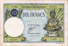 Madagascar 10 Francs 1926 P-36a rare sign.1 (5995) F