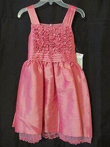 Bonnie Jean Dress Sleeveless Ruffle Bodice Knee Length Shimmer Pink 14 #U9716