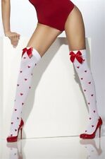 Stockings with Bows and Hearts White New Adult Halloween Cristmas Fever One Size