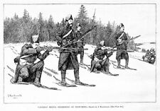 CANADIAN MILITIA SKIRMISHING ON SNOW-SHOES ANTIQUE 1887 ENGRAVING, SNOWSHOES