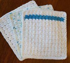 3 Crochet Cotton Dishcloth/Washcloth - Aqua/White Flecked - Made in USA