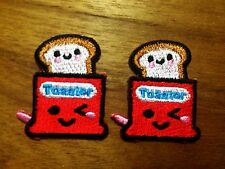 Set 2pcs.Toaster Bread Machine Smiley Face Happy Iron On Patch Embroidered