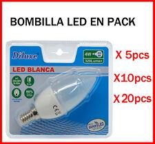BOMBILLA DE VELA LED 4W CASQUILLO PEQUEÑO E14 LUZ BLANCA 6400K PACK DESDE 5 UDS