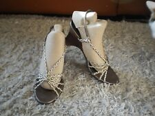 WOMEN'S SPORTSGIRL  GOLD & BRONZE  HIGH HEEL WEDGE SANDALS - SIZE 7