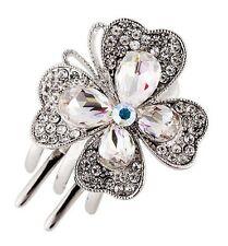 Hair Clip Claw using Swarovski Crystal Hairpin Flower Bridal wedding Silver AB 2