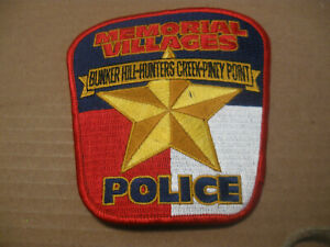 MEMORIAL VILLAGES, BUNKER HILL, HUNTERS CREEK, PINEY POINT TEXAS POLICE PATCH