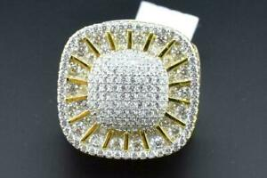14k Yellow Gold Plated Silver Hip Hop Micro Pave Iced Bling Pinky Ring Size 8
