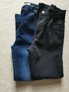 Denim Co Boys 2 pair Blue and Black  Denim Straight Jeans Size 11-12 Years