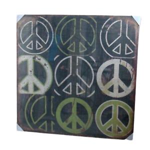 Print Peace Print Artwork Wall Decor Hessian Jute Stretched Wood Frame 100x100cm