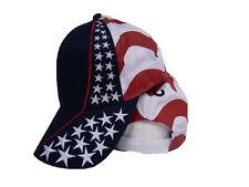 USA American United States Flag Embroidered Stars Stripes Baseball Cap Hat (RUF)