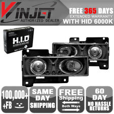 Fit 88-98 GMC CK 1500 2500 3500 Halo Projector Headlight Black Clear + 6000K HID
