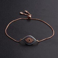 Rose Gold Evil Eye Irregular Rhombus Shape Cubic Zirconia CZ Copper Bracelets