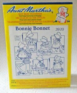 Aunt Martha's Hot Iron On Transfers - 3920 BONNIE BONNET 7 BIG designs