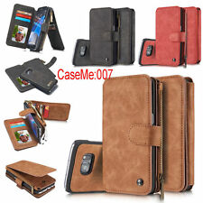 Genuine Leather Removable Magnetic Multifunction Zipper Wallet Card Case Cover