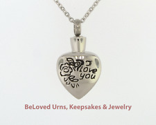 """""""I Love You"""" On Heart Cremation Jewelry Keepsake Pendant Memorial Urn Necklace"""